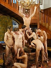 Right away afterwards, several sheer guys kneel down to lick his body all over gay nudist groups