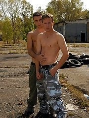 The contradict for balls licking and gay dick sucking ends up in explosive threesome action where this military gay union scene turns a soldier's