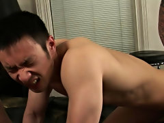 Cum look after Johnny and Sam plow via another lubricous piece of ass gay interracial kiss