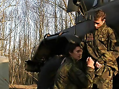 Jose and Micky are swing hard and fully at attention for this military-themed mammoth, as first timer Mickey gets his first taste of thick cock from h