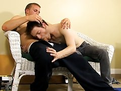 The 2 guys exchange very noisy blowjobs; the wet, smacking noises echo off the empty space's walls