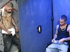 He starts by jerking the cock through the hole while jerking his own piece of meat at the same time gay shower blowjobs at Backroomfuckers