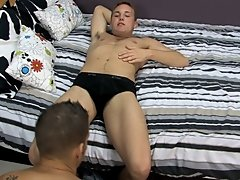 She won't be home until eight, though, so he invites his buddy Alex Andrews over for a quick fuck hardcore gay muscle worship at My Husband Is Ga