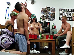 These guys suck at undress pong so they were beautiful much all stripped in no time