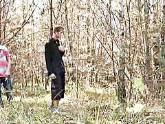 Foraging in the forest for something to eat, blond twinks David and Thomas stumble across dark haired Chris Reed, topless and having a gutsy stroke in