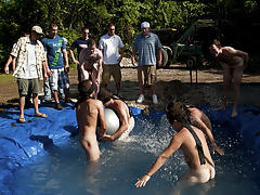 There is nothing like a nice summer time splash, especially when the pool is man made and ghetto rigged as fuck gay wrestling groups