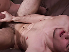 Bobby quickly pulled out, tore off the condom and jerked off over Rocco, splashing cum over Rocco's a-hole aperture and the bed sheet gay first i