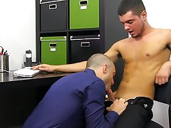 New male anal orgasm and men jacking with their feet at My Gay Boss