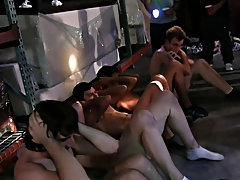 So the guys at one of our favorite west coast fraternity's decided to throw their annual warehouse party hot gay guy group sex