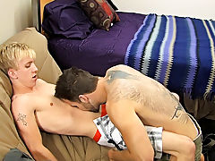 After those two get inside, they kiss and swap fellatio previous to Preston acquires the young and fit Jordan bent over his bed