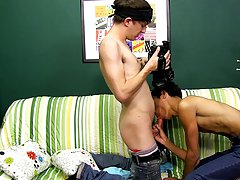 "Andy Kay steps in front of the camera to film a scene with Dustin Cooper for another installment in his ""Try Outs"" DVD series gay twink bubb"