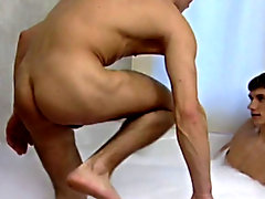 These two young guys have a ball a nice hot bath together then climb into some even hotter action together men sucking wet pussy