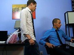 Black stripper getting blow job from man and skinny black fem gay mens asses at My Gay Boss