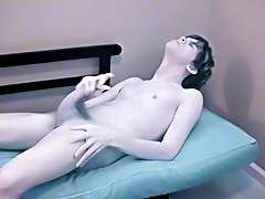 Muscular smooth twink and amateur hairy man masturbating - at Boy Feast!