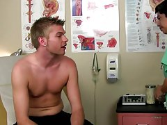 Straight men cumming shots and male doctor examining cock