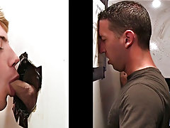 Another Guy Sticking His Cock Through The Wall gay men male blowjobs