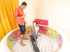 Then he will stick his wetted prick in his throat my first time gay at Boys Pee Pee
