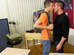 Brock receives a smack of his student's large ramrod before bending the lad over his desk to fuck him doggystyle nude gay free twinks at Teach Tw
