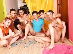 What a great juicy group orgy and whole sea of sperm male group sex porn at Crazy Party Boys