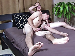 Both boys quickly stripped off their clothes, throwing them onto the floor before grabbing their dicks and jerking off gay twinks thumbs