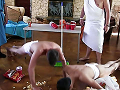 The capa chaps are prepping for their toga party by having their pledges clean up the frat house and wrestle for invitations to the party of the year