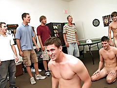 But once word got around that the pledges were in the game room having fun, their frat brother came in camera in hand to train them a very fine lesson