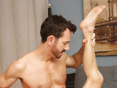 After fucking the cum out of Kyler, this chab gives him a facial in advance of tucking him back into his closet for later hardcore gay fucking at Bang