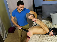 He paddles the tied boy until his arse is red in advance of freeing him from some of the restraints so this guy can feed him his cock hardcore gay ass