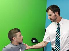 Ryan Sharp is giving his probation officer, Bryan Slater, some serious lip...and Bryan's had enough hardcore gay muscle worship at Bang Me Sugar