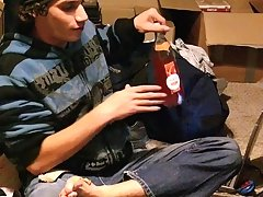 In This video, he is hanging out in his room, barefoot with a jar of peanut butter amateur nude college guys - at Tasty Twink!