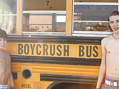 We pick up Kyler Moss on the Boycrush bus and Dylan Chambers shows him 10 inches of a good time gay twink dick