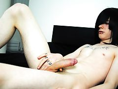In this stunning new solo scene, Josh Osbourne wanks his long uncut cock and blows a huge load all over himself, bigger than every before male masturb