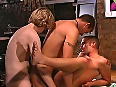 Aden, Carter and Giovanni suck down loads of cock gay group facials