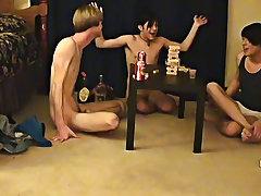 "Trace and William get together with their fresh friend Austin for the second installment of ""game night twinks with hard cocks gay - at Boy Feast"