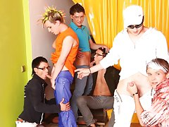 Male masturbation group and group sex andnot gay teen at Crazy Party Boys