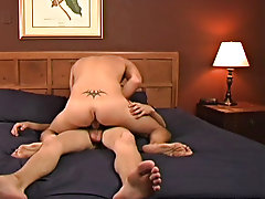 Up and down he goes on Tyler's cock for a bit before Tyler lowers him onto his back and continues to fuck his ass missonary style regan bang bus