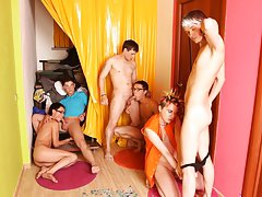 Naked men fucking in group and long gay...