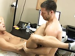 Shane ends up stretched out across the desk, jerking out a load before attaching his mouth to Tristan's sensitive nipple to finish the stud off g