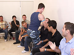 Group gay blowjob and male group nudity at...