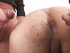 Two cocks in the ass and he moans of painful pleasure taking a real anal DP for the first time ever and loving it big time yahoo groups wrestling gay