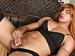 Being really hooked on female lingerie this time he dresses himself into lacy black one with matte nylons to match driving male masturbation