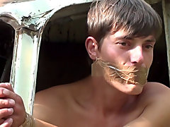 Bound and Waxed Friend gay outdoor oral sex
