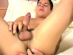 Soon his legs are up in the air and he has his finger all the way in his cute tight ass masturbation technique men