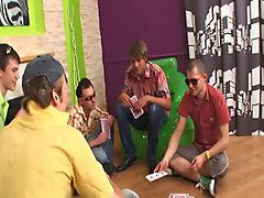 Hot gay guy group sex and gay group masturbation video at Crazy Party Boys
