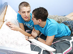 At the end of the scene, they lay back together to jack off and cum gay college boys first time