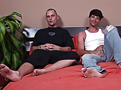 They switched it up; Darren kneeling doggy style on the bed with Matt standing on the floor directly behind him hardcore free gay video clips