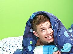 Gay uncut boy on sofa and gay hairless  at Boy Crush!