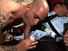 After being probed with a important nightstick, it was control for the criminal to get into a all-male cock-sucking fudge packing threesome of guy-gas