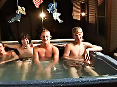 We got 4 boys: Tanner, Dakota, Tommy, and Josh all in the hot tub, ready to make it one hell of a party gay videos big cock groups