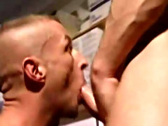 With the filthy women on the magazine covers getting them hard, it is Mike that gets hard first and pushes a hungry Darren down onto his meat pole for